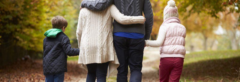 vue arrière, famille, marche, long automne, sentier